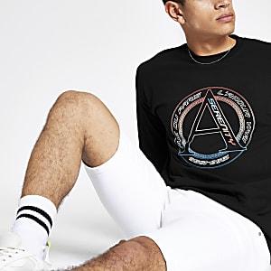 T-shirt noir «Serenity» à logo et manches longues