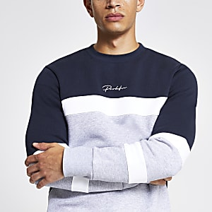 Grey 'Prolific' block slim fit sweatshirt