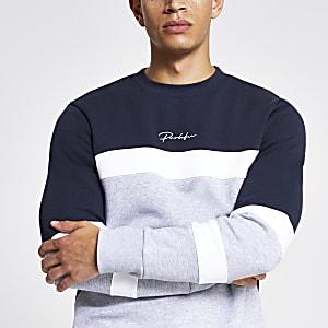 Grijs slim-fit sweatshirt met kleurvlakken en Prolific-print