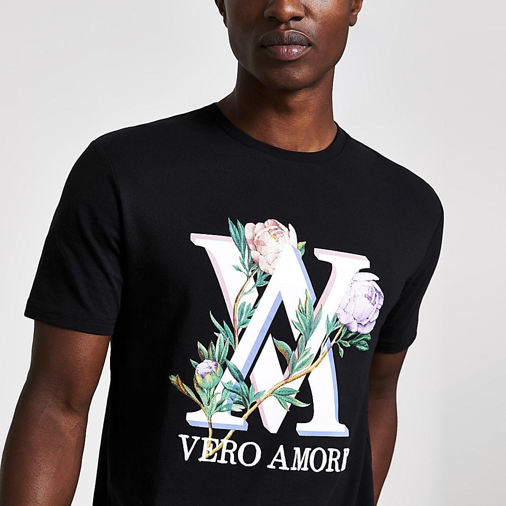 Zwart geborduurd slim-fit T-shirt met print