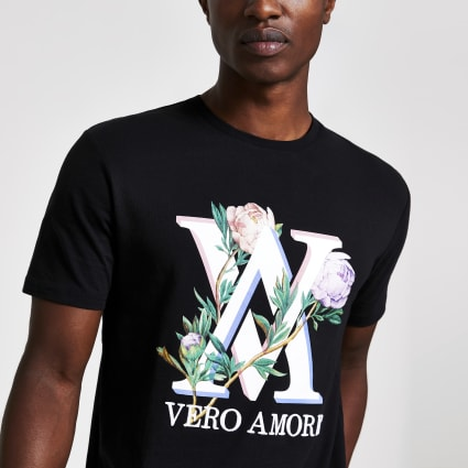 Black embroidered print slim fit T-shirt