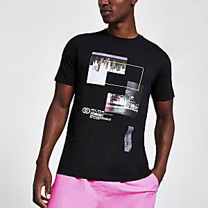Zwart slim-fit T-shirt met visionaries-print