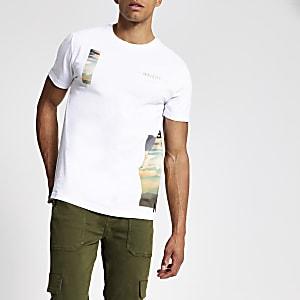 T-shirt slim «Maison Riviera» blanc