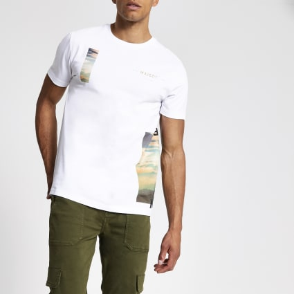 White Maison Riviera slim fit T-shirt