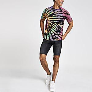 T-shirt noir effet tie and dye