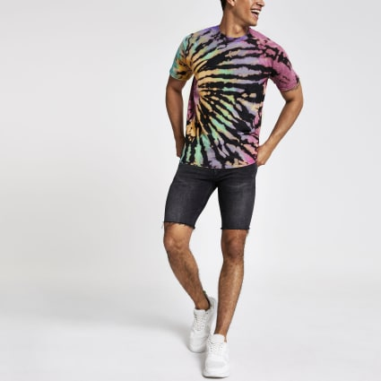 Black multi tie dye T-shirt
