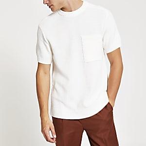 T-shirt coupe classique en maille écru