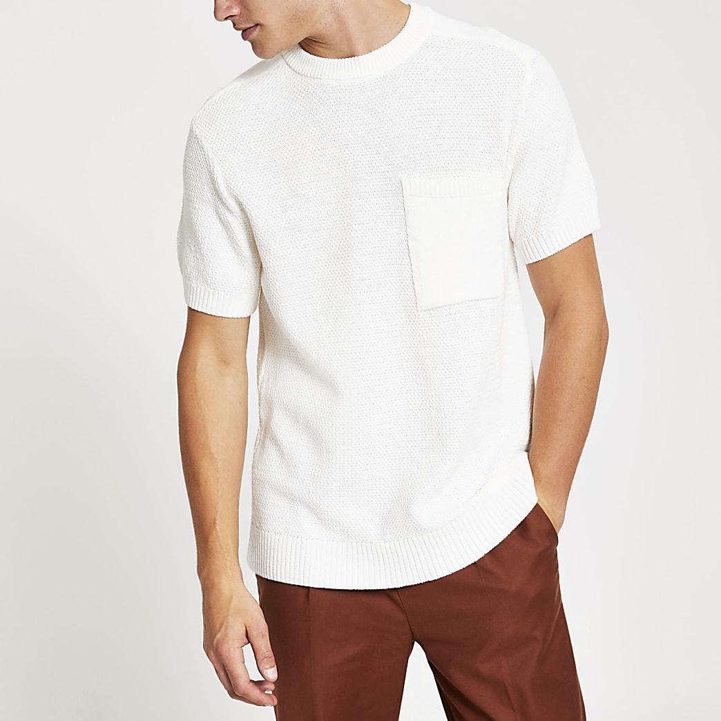 Ecru regular fit knitted T-shirt