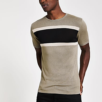 Khaki knitted colour block slim fit t-shirt