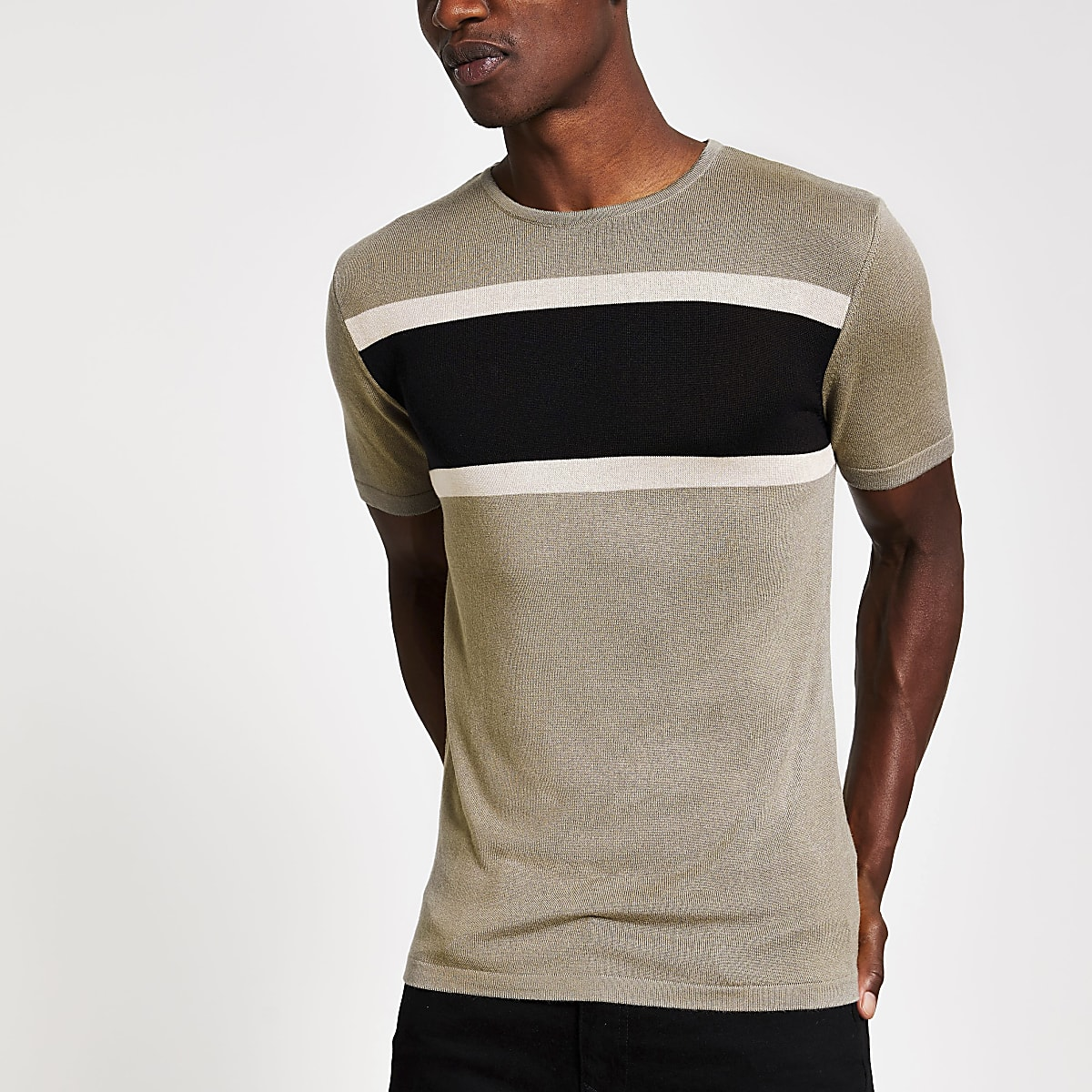 Kaki gebreid slim-fit T-shirt met kleurvlakken