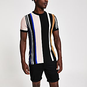 Black stripe knitted slim fit T-shirt