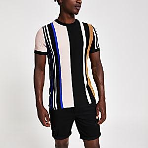 T-shirt slim en maille rayé noir