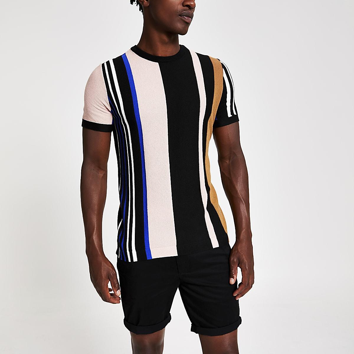 Zwarte gebreid slim-fit T-shirt met strepen
