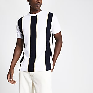 T-shirt slim en maille rayé blanc