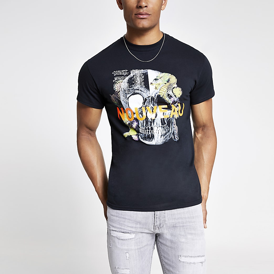 T-shirt noir imprimé tête de mort