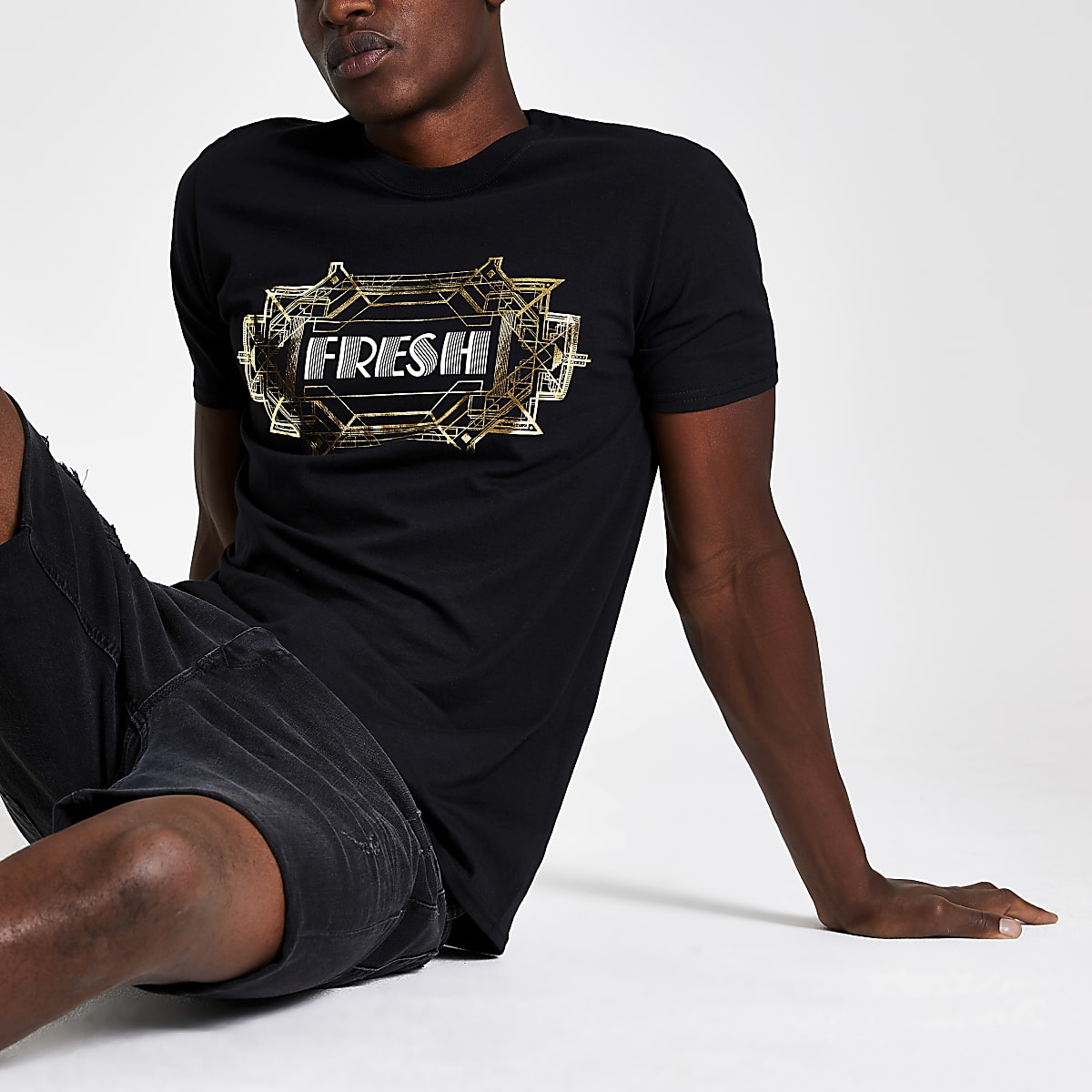 Black 'Fresh' foil print T-shirt