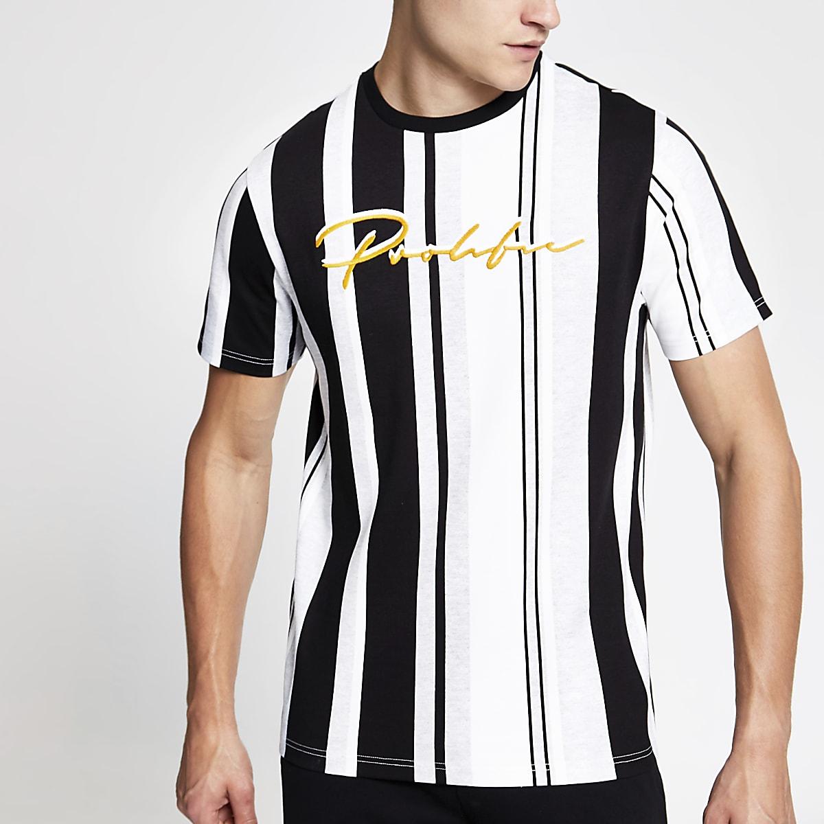 Zwart gestreept slim-fit T-shirt met 'Prolific'-print
