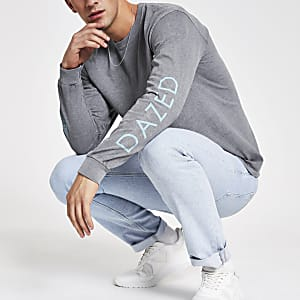 Grey washed 'Dazed' print long sleeve T-shirt