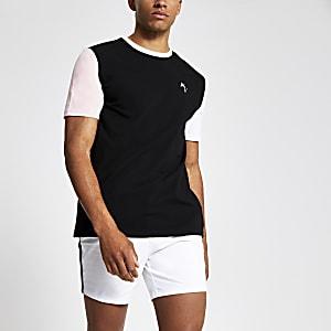 Zwart slim-fit T-shirt met 'Maison Riviera'-print en kleurvlakken