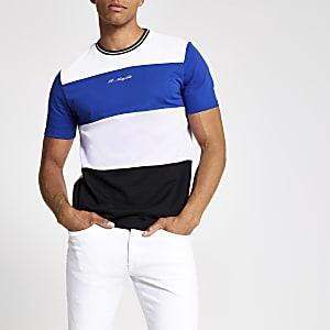 R96 – T-shirt slim colour block blanc