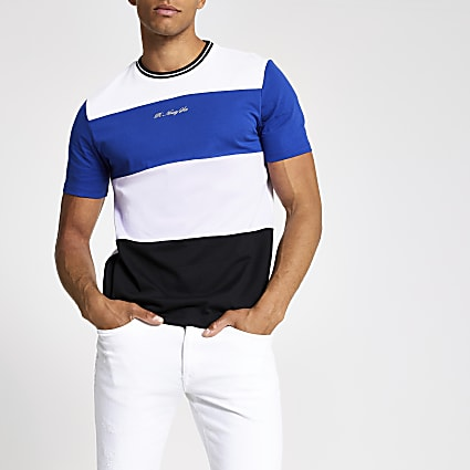 white R96 blocked slim fit T-shirt