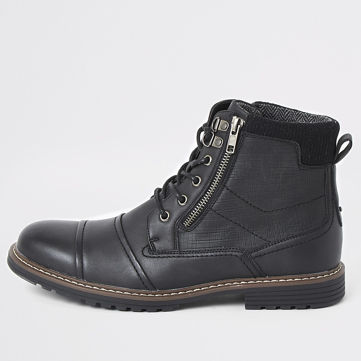 Black double zip lace-up military boots