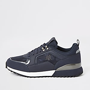 Marineblauwe vetersneakers