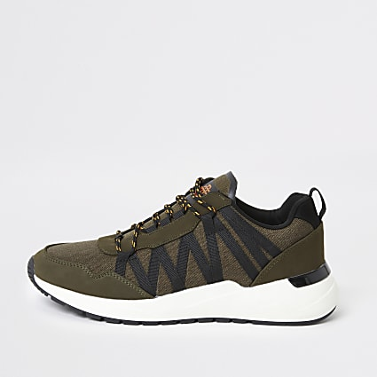 Dark green lace-up runner trainers