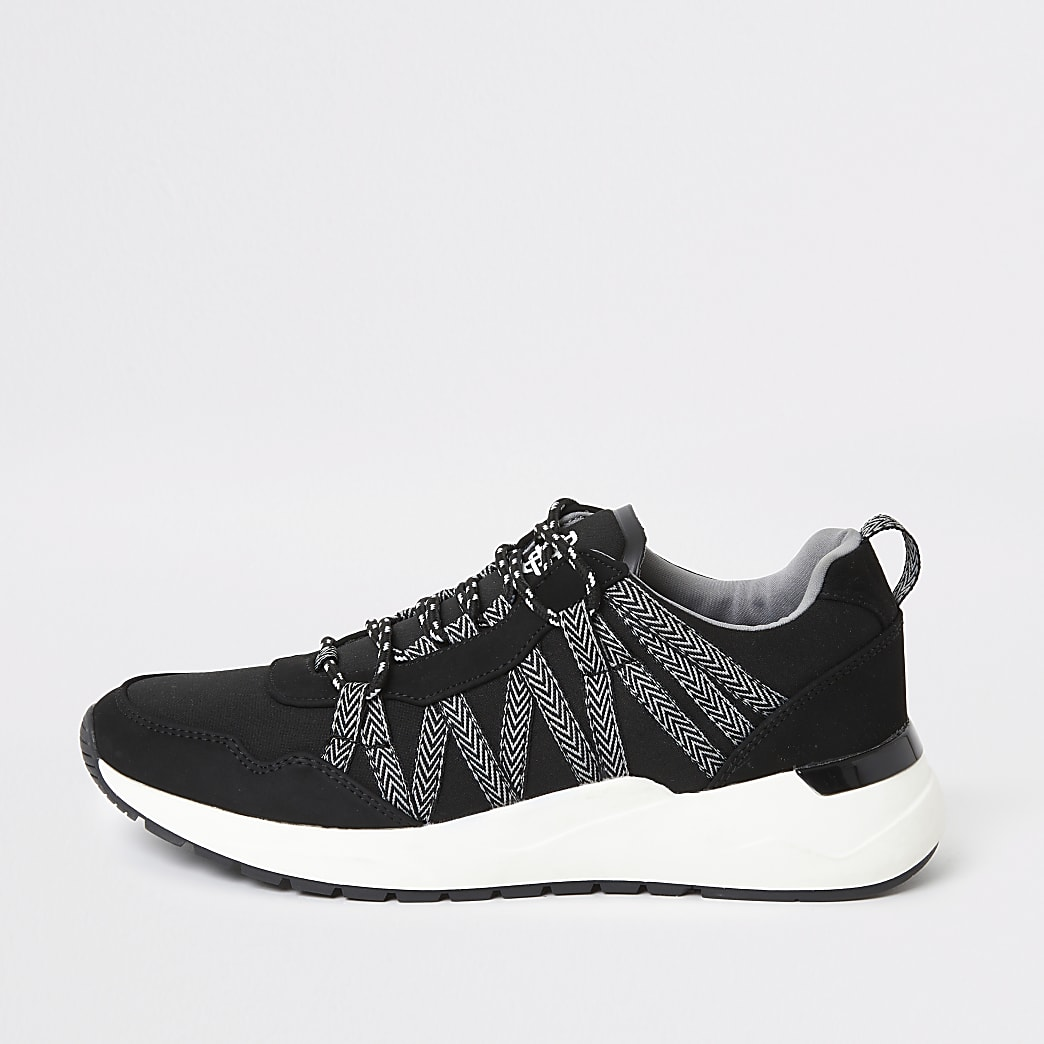 Black lace-up runner trainers