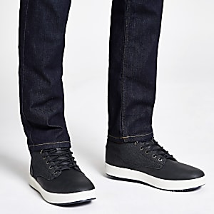 Baskets mi-hautes en jean imitation cuir bleu marine