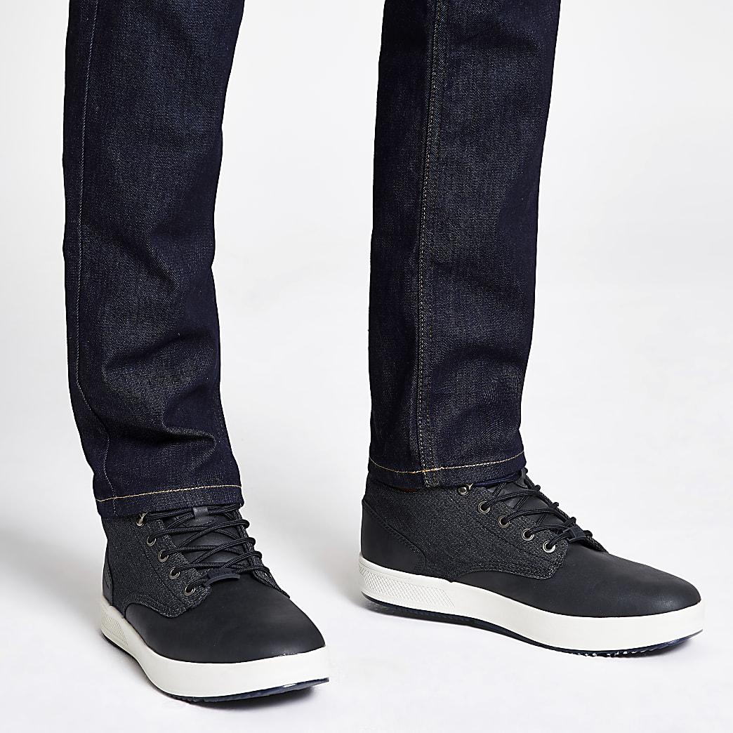 Marineblauwe middenhoge denim sneakers van imitatieleer