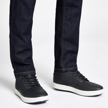 Navy faux leather denim mid top trainers