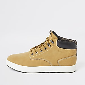Lichtbruine halfhoge sneakers
