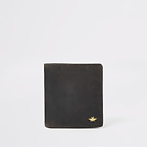 Dark brown leather wasp wallet