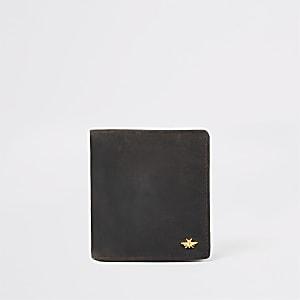 Portefeuille en cuir marron foncé motif guêpe