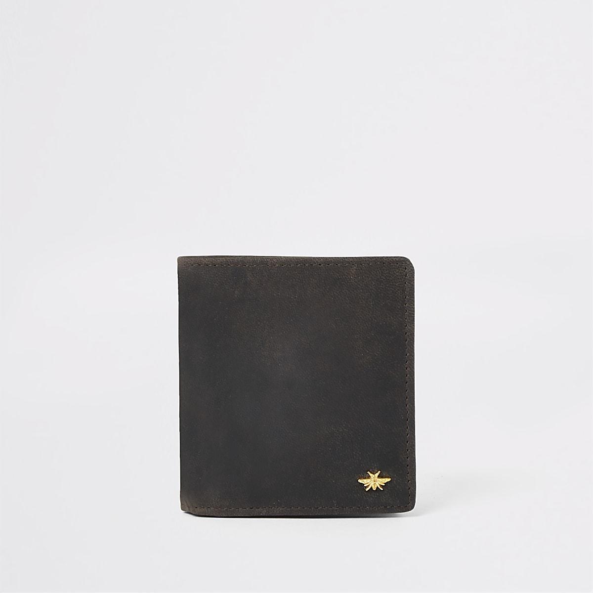 Dark brown leather wasp wallet