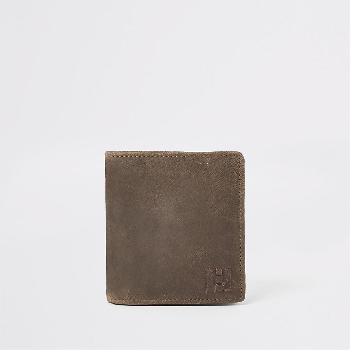 Portefeuille en cuir marron clair motif guêpe