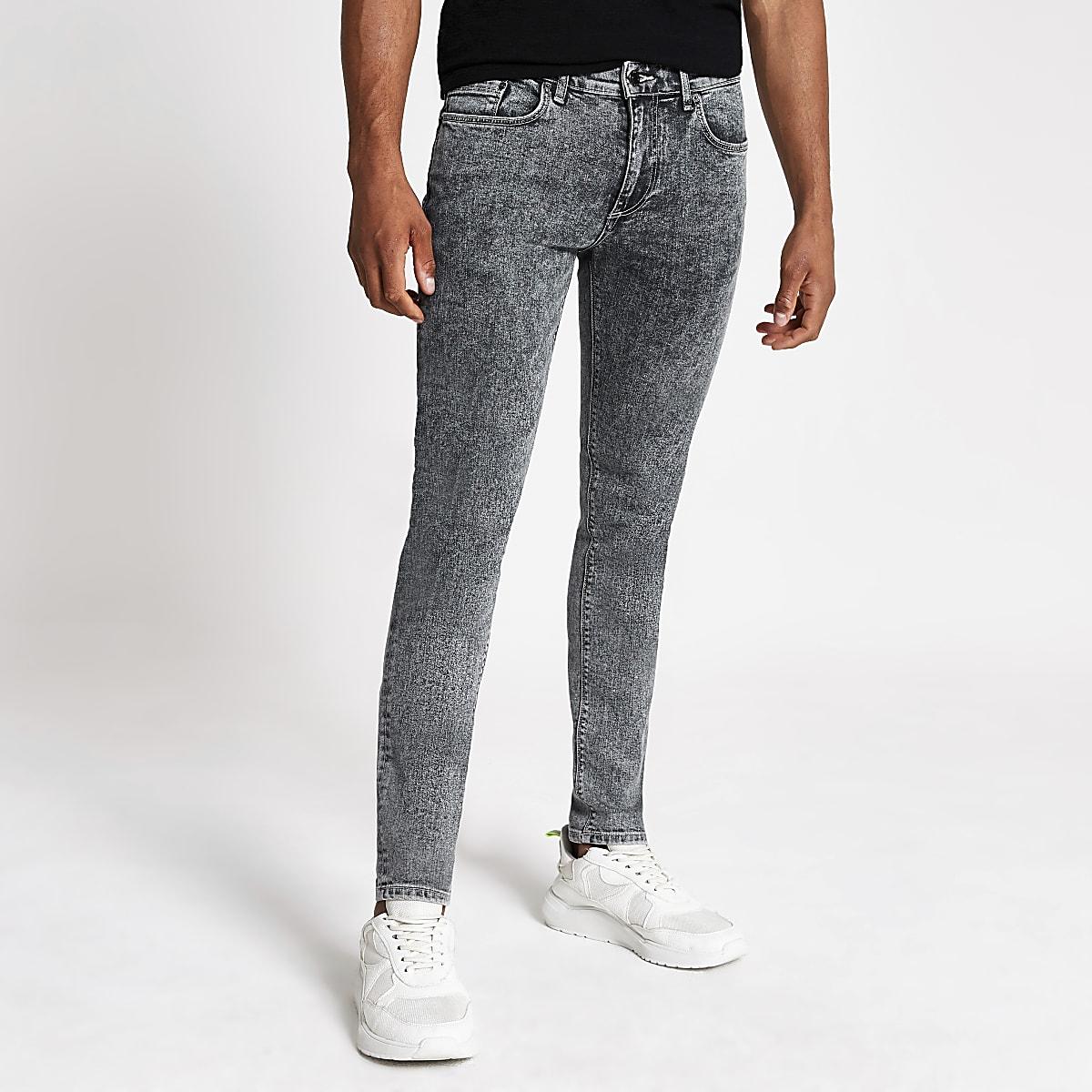 Grey Sid skinny acid wash jeans