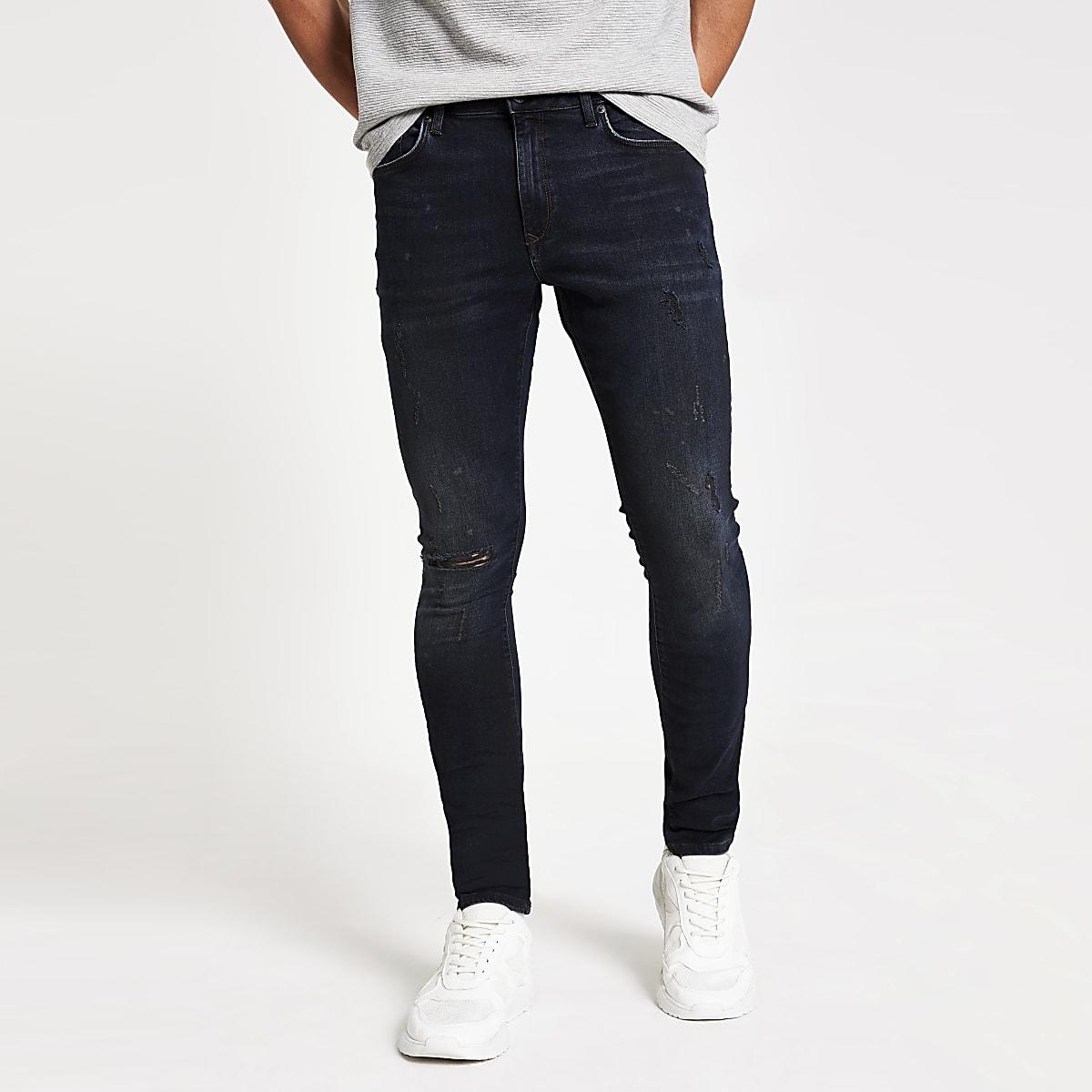 Blue black Danny ripped super skinny jeans