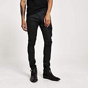 Danny – Schwarze, beschichtete Super Skinny Bikerjeans