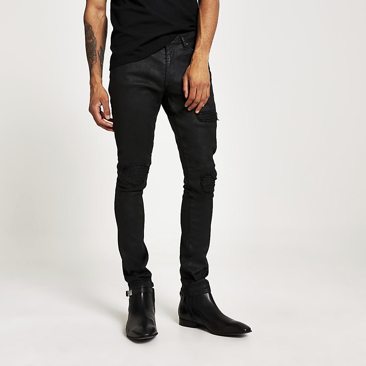 Danny - Zwarte superskinny bikerjeans met coating