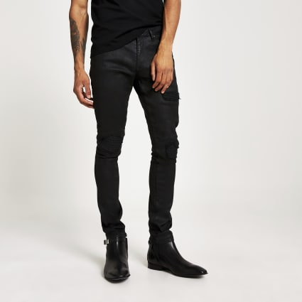 Black Danny super skinny coated biker jeans