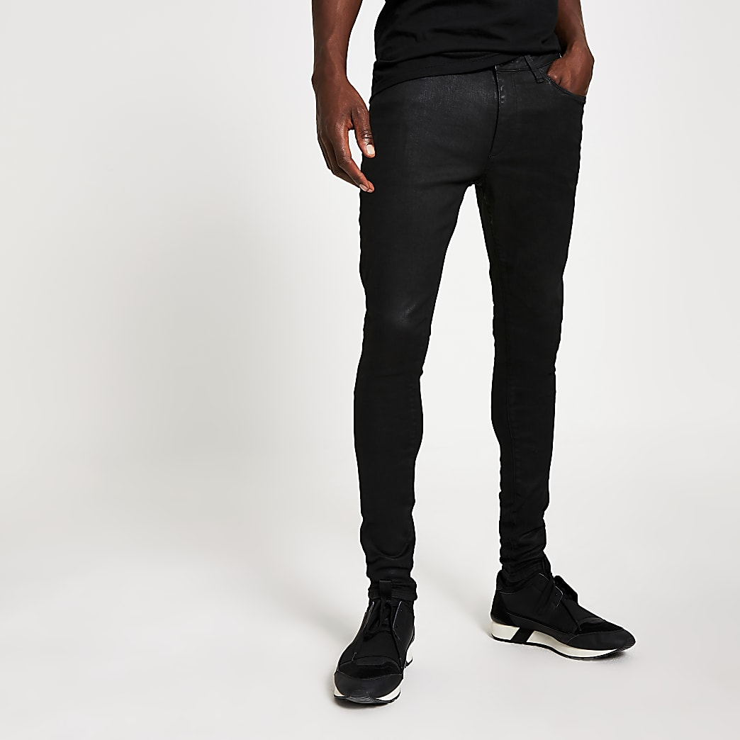 Ollie – Jean ultra-skinny noir enduit