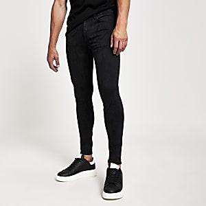 Ollie - Zwarte spray-on jeans met slangenprint