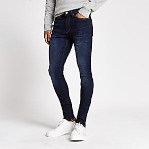 Ollie – Dunkelblaue Skinny Fit Spray-on-Jeans