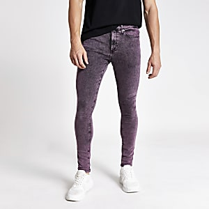 Ollie - Paarse acid wash spray-on jeans