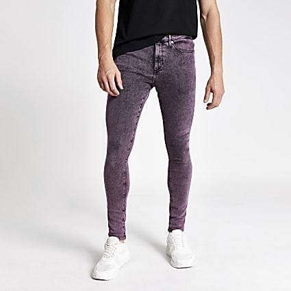 Purple acid wash Ollie spray on jeans
