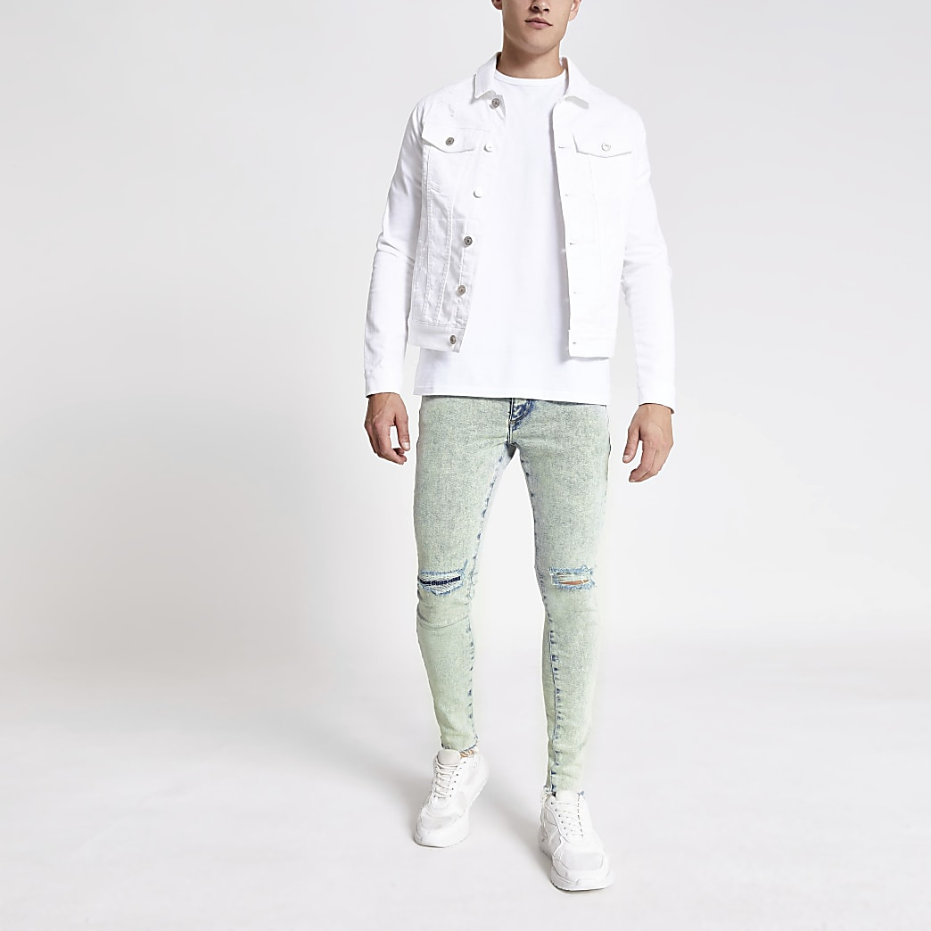 Ollie - Lichtblauwe spray-on ripped jeans