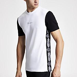 Wit slim-fit -shirt met paneel met aztekenprint en Prolific-print
