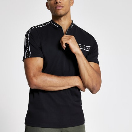 Black Maison Riviera zip neck polo shirt